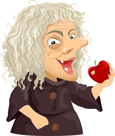 hag: Illustration of a Scary Old Hag Holding a Shiny Apple Stock Photo