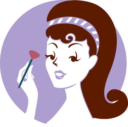 blush: Illustration of a Pinup Girl Applying Blush On Powder on Her Face