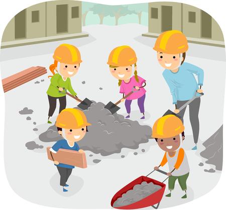 Stickman Illustration of Kids Helping Their Teacher Perform Community Service