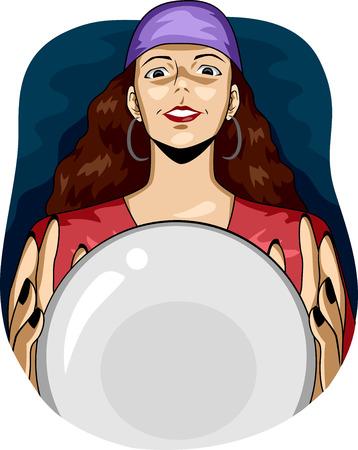 bonne aventure: Illustration d'une Gypsy Femme utilisant une boule de cristal pour voir l'avenir