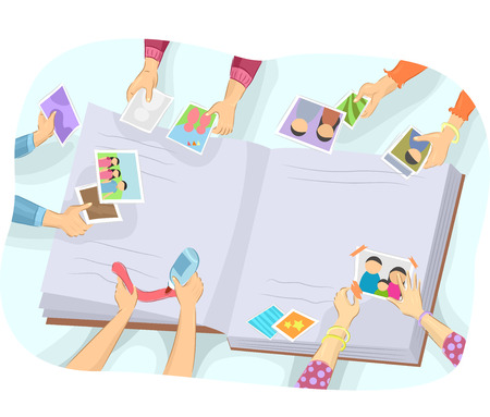 compile: Illustration of a People Working Together to Compile a Photo Album Stock Photo