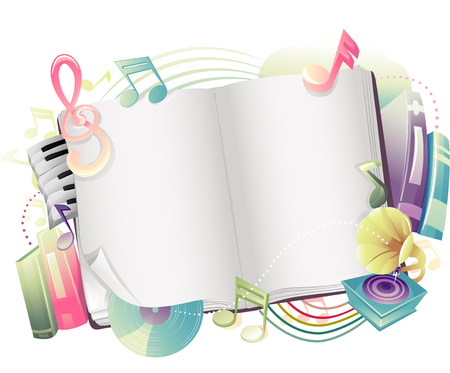 Illustration of an Open Book with Music Notes Scattered Around It