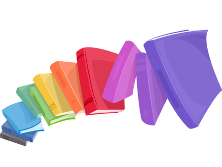 read book: Illustration of a Pile of Colorful Books Tumbling Down Stock Photo