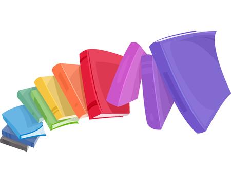 Ilustración de una pila de libros de colores cayendo abajo Foto de archivo