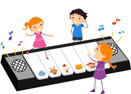 Illustration Stickman des enfants jouer avec un jouet de piano qui sont joués par les animaux Sons Banque d'images
