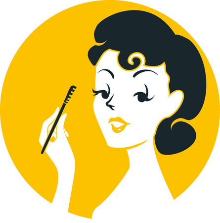 bombshell: Illustration of a Pinup Girl Applying Mascara on Her Lashes