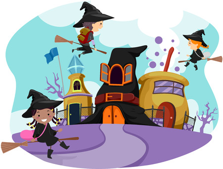 dressed: Whimsical Illustration of Stickman Kids Dressed as Witches Going to Wizardry School