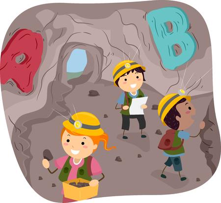 洞窟を探索する小さな子供のバッター イラスト 写真素材