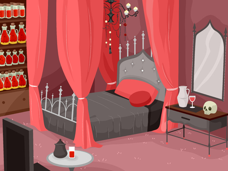 four poster bed: Illustration of a Lavish Bedroom with a Red Motif Stock Photo