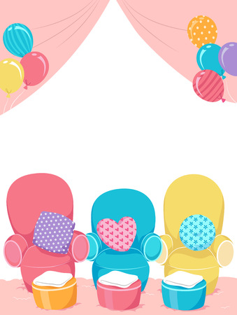 themed: Illustration of Spa Themed Birthday Party Decorated with Colorful Chairs and Pillows Stock Photo