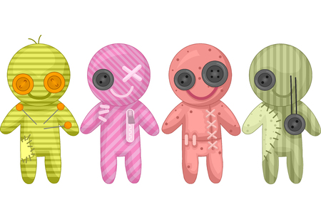 Voodoo doll: Illustration of Colorful Voodoo Dolls Made from Rags and Buttons Stock Photo