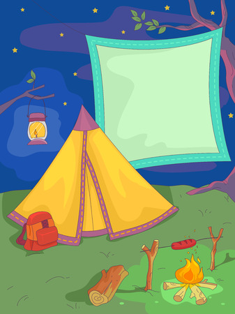 facing: Banner Illustration of a Tent Facing an Open Fire