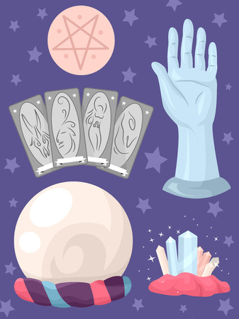 bonne aventure: Illustration Regroupées Featuring choses habituellement utilisés dans Prédire l'avenir Banque d'images