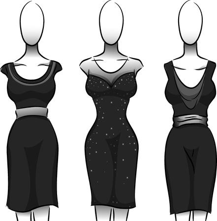 lbd: Black and White Illustration of Mannequins Wearing Black Dresses Stock Photo