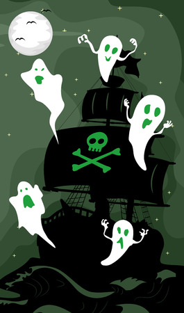 poltergeist: Illustration Featuring the Silhouette of a Ghost Ship Stock Photo