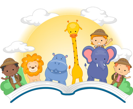 schooler: Illustration of an Open Book with Cute Kids and Animals Standing on Top of It