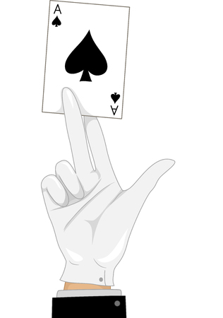 ace of spades: Illustration of a Magician Holding an Ace of Spades