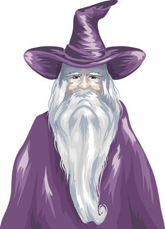 gown: Sketchy Illustration of a Wizard Wearing a Purple Gown