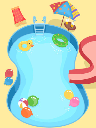 water pool: Illustration of a Pool Decorated for a Kids Party