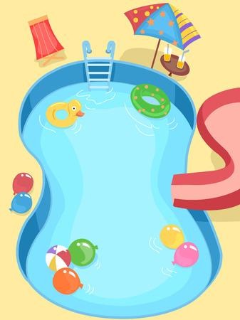 niños nadando: Ilustración de una piscina decorada para una fiesta infantil Foto de archivo