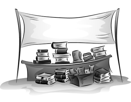assortment: Banner Illustration of a Bazaar Selling a Wide Assortment of Books