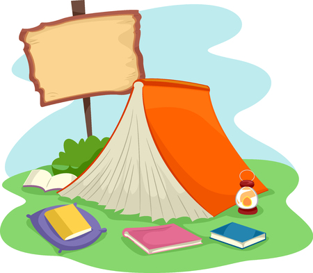 giant: Illustration of a Giant Book Spread Like a Tent Stock Photo