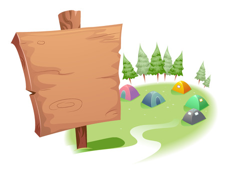 sites: Illustration of a Blank Wooden Sign on Top of a Camp Site Stock Photo