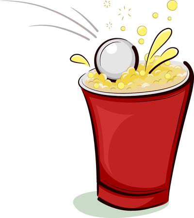 ping pong: Ilustraci�n de una pelota de ping-pong que cae la derecha en una Copa