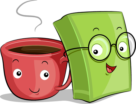 geeky: Mascot Illustration of a Cup of Coffee and a Book Placed Side by Side