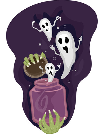 releasing: Illustration of a Hand Releasing a Jar Full of Ghosts