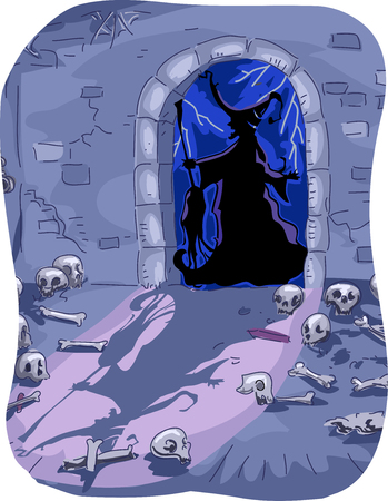 lair: Halloween Illustration of a Witch Entering a Dungeon Filled with Skeletons