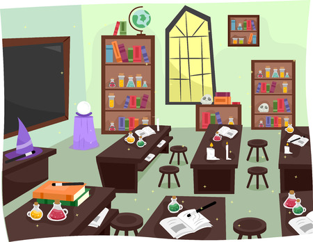 experiments: Illustration of a Whimsical Laboratory in a Wizardry School Stock Photo