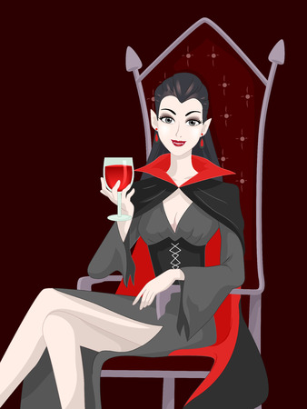 sipping: Illustration of a Female Vampire Sipping a Glass of Blood