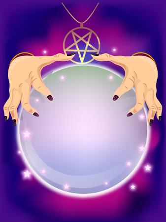 bonne aventure: Illustration d'une Fortune Teller En utilisant une boule de cristal pour prédire l'avenir