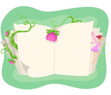 libros abiertos: Ilustración de un libro abierto rodeado de flores y vides