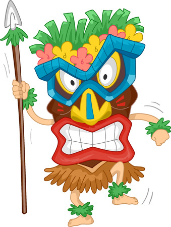 Illustration of a Native Man Wearing a Tiki Mask