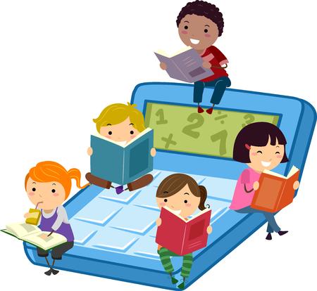 libro caricatura: Ilustración stickman de niños sentados en una calculadora de matemáticas lectura Libros Foto de archivo
