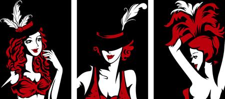 Stencil Illustratie van vrouwelijke cabaretiers in vol ornaat Stockfoto