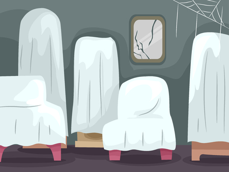 broken house: Illustration of Abandoned Home Furniture Covered with White Sheets