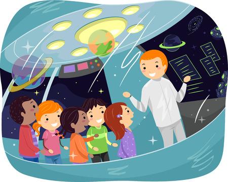 educativo: Ilustración stickman de los niños en un viaje educativo que escuchan una conferencia espacial