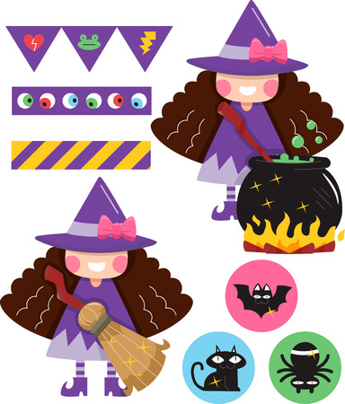 grouped: Grouped Illustration of Party Elements with a Witchcraft Theme