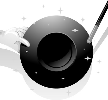 stage props: Black and White Illustration of a Magician Holding a Magic Hat Stock Photo