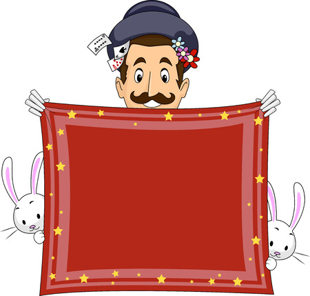 handkerchief: Illustration of a Magician Holding a Banner Made from a Handkerchief