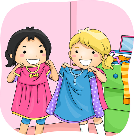 little girl dress: Illustration of Little Girls Sharing Dressed with Each Other