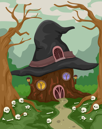magical forest: Halloween Illustration of a Witch House in the Middle of the Woods