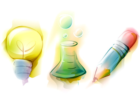 erlenmeyer: Watercolor Illustration Featuring Education Related Icons - eps10