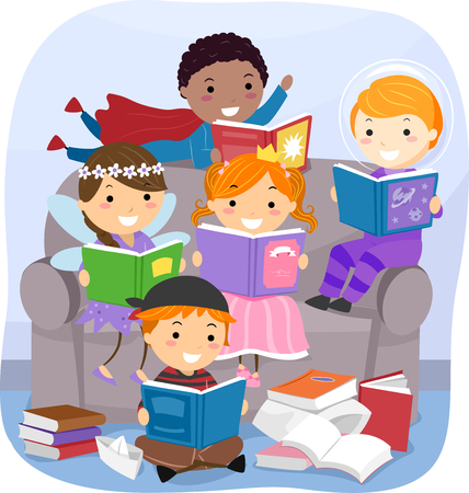 Stickman Illustration of Kids Reading Fantasy Books Stock Photo