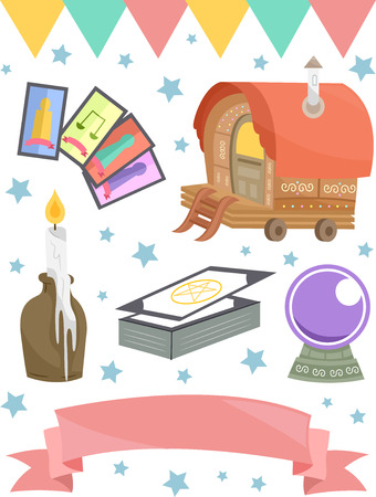 grouped: Grouped Illustration of Items Usually Associated with Gypsies Stock Photo