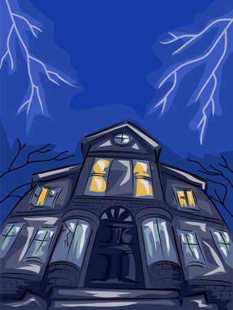 haunted: Illustration Featuring a Haunted House Framed by Lightning Bolts