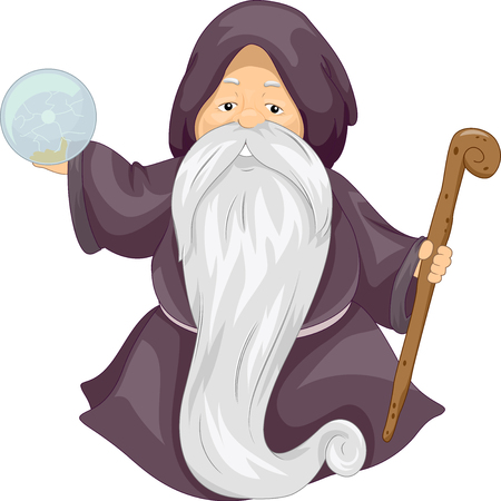costume ball: Illustration of an Old Wizard Holding a Crystal Ball